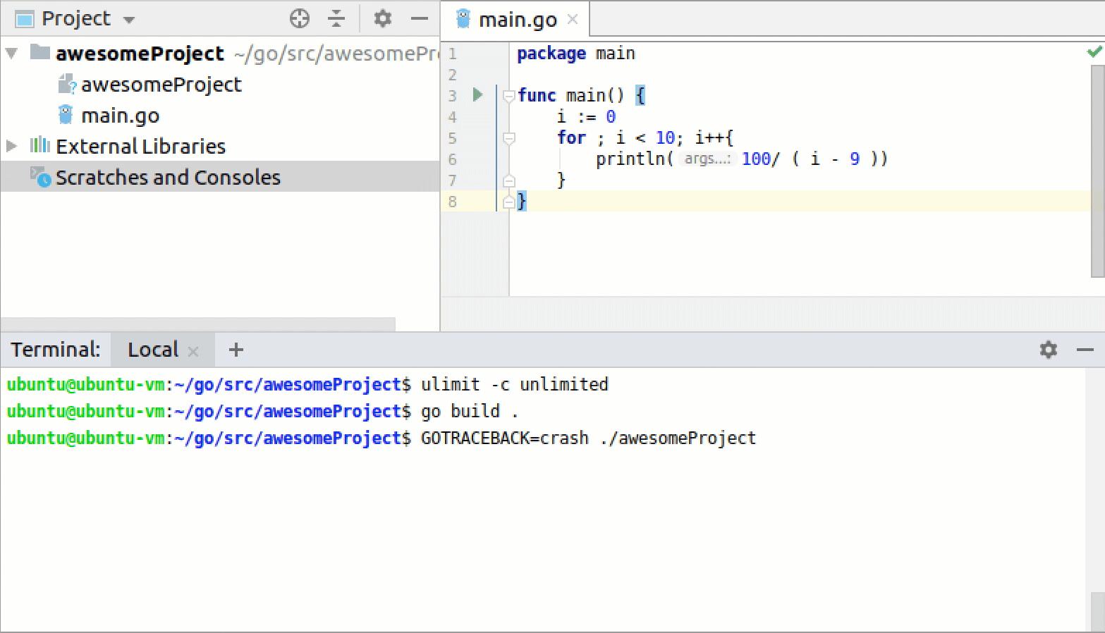 Create Go core dumps on Linux