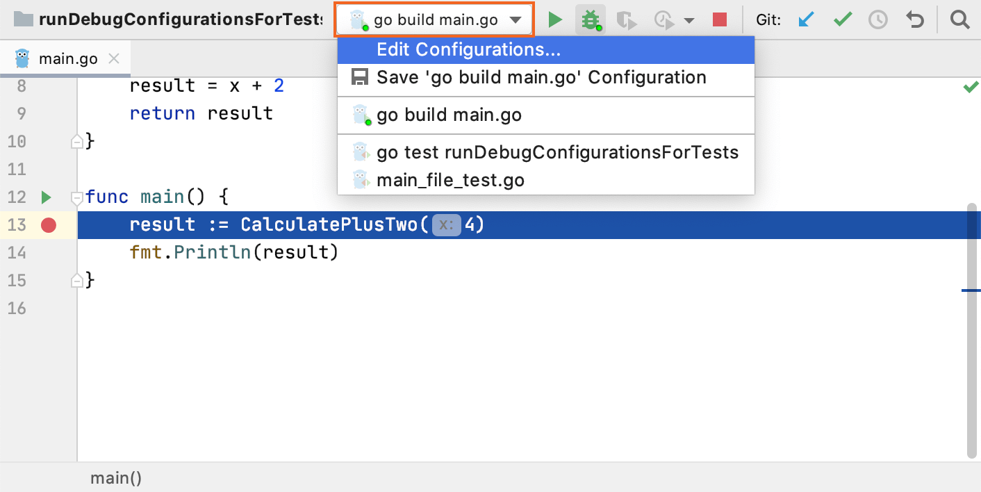 The list of run/debug configurations on the toolbar