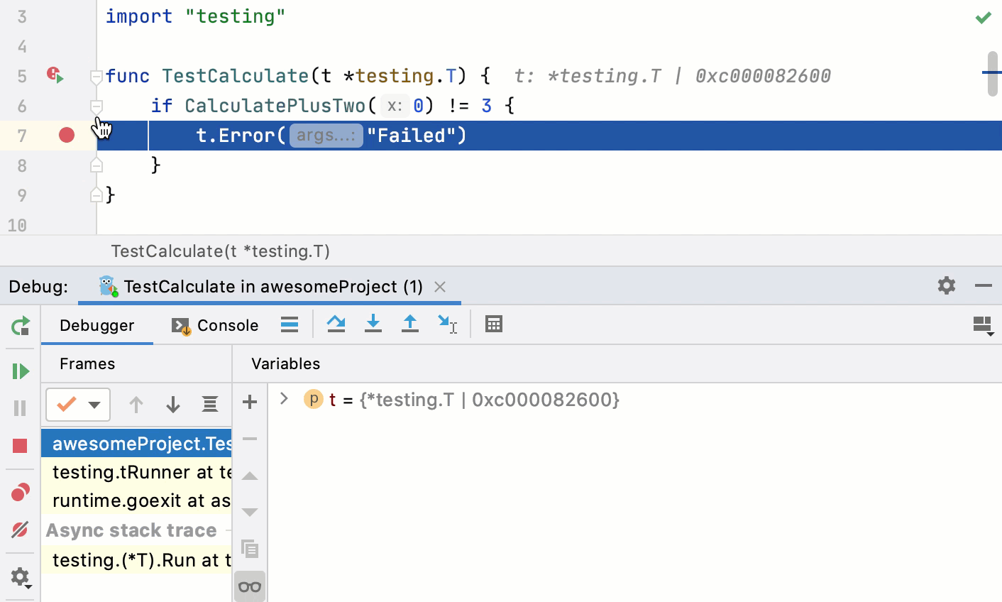 Debugging a test using the gutter icon