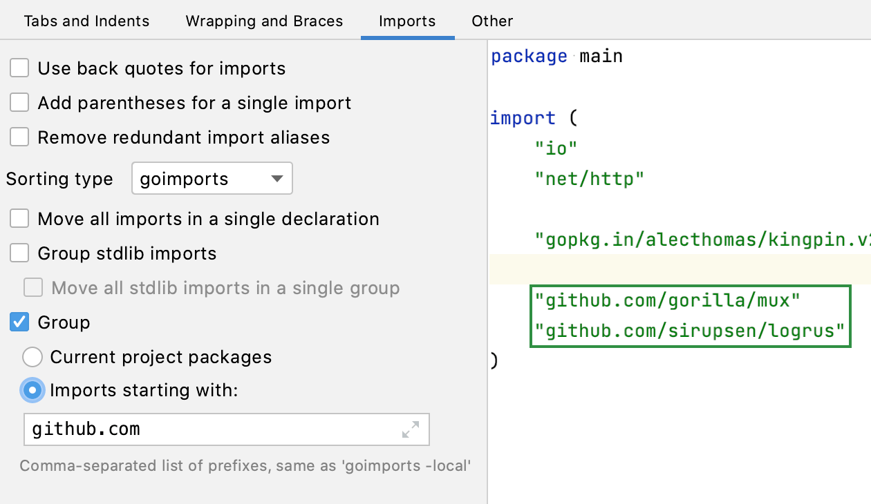 """""""goimports -local"""" import grouping"""