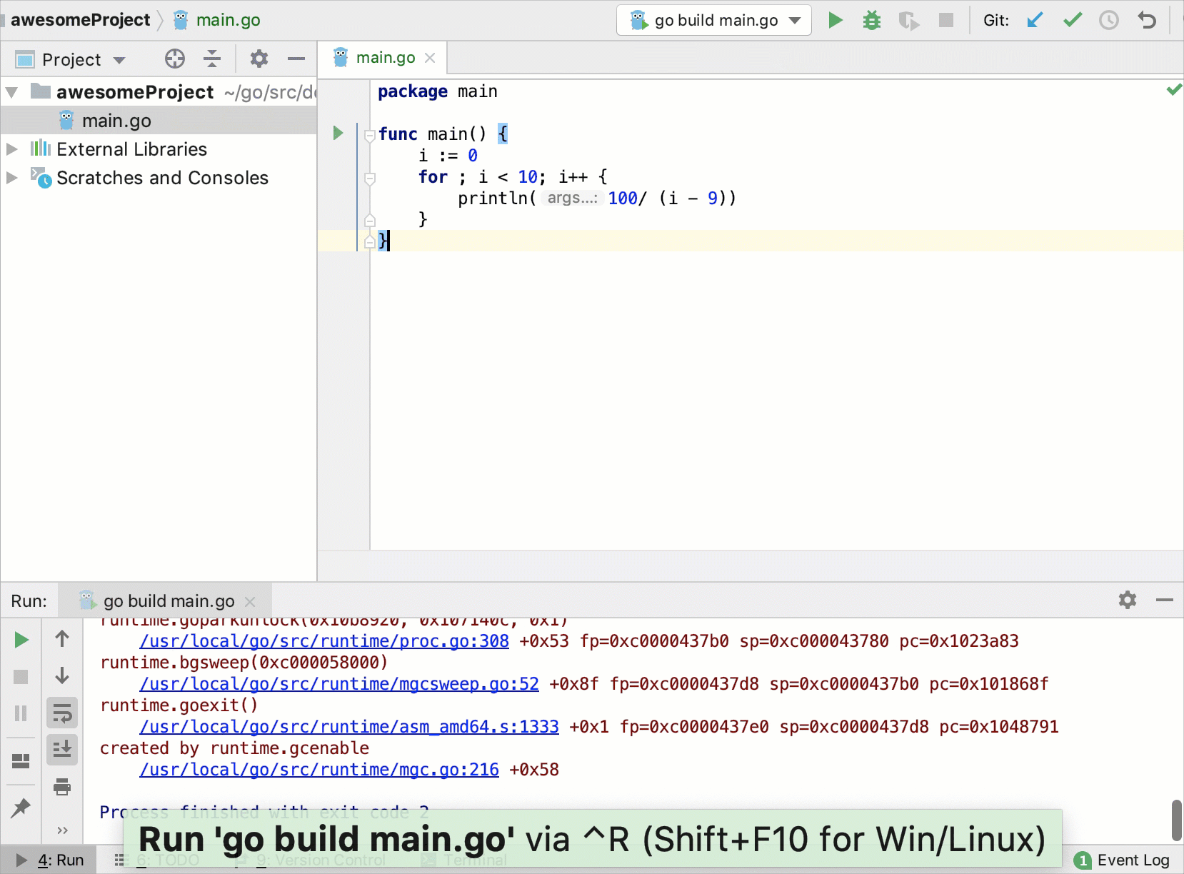 View Go core dumps in IntelliJ IDEA