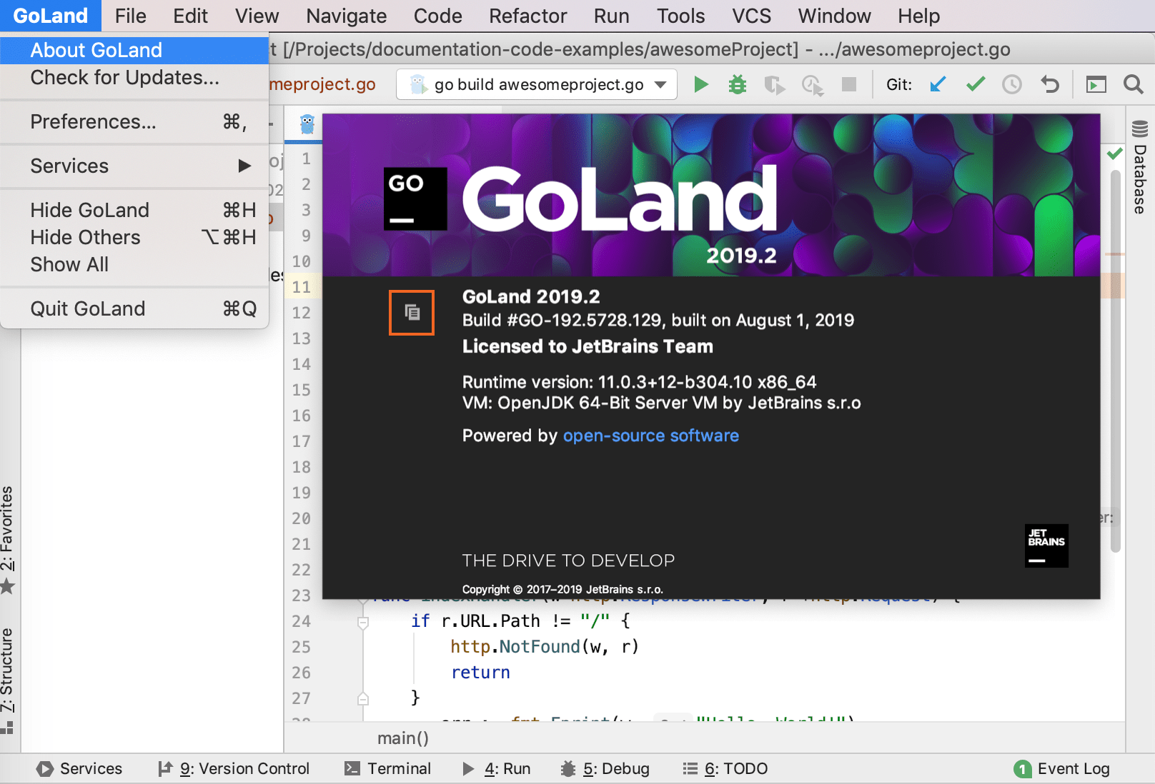 Go product version macos