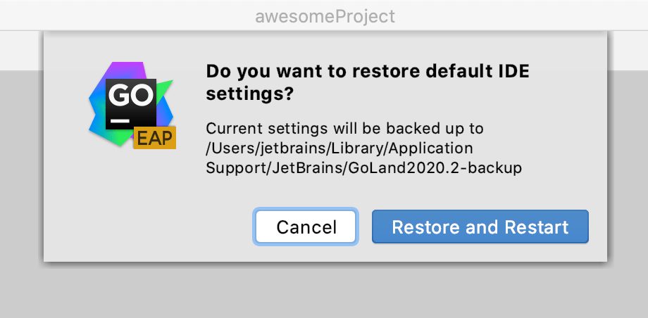 Restore IDE settings