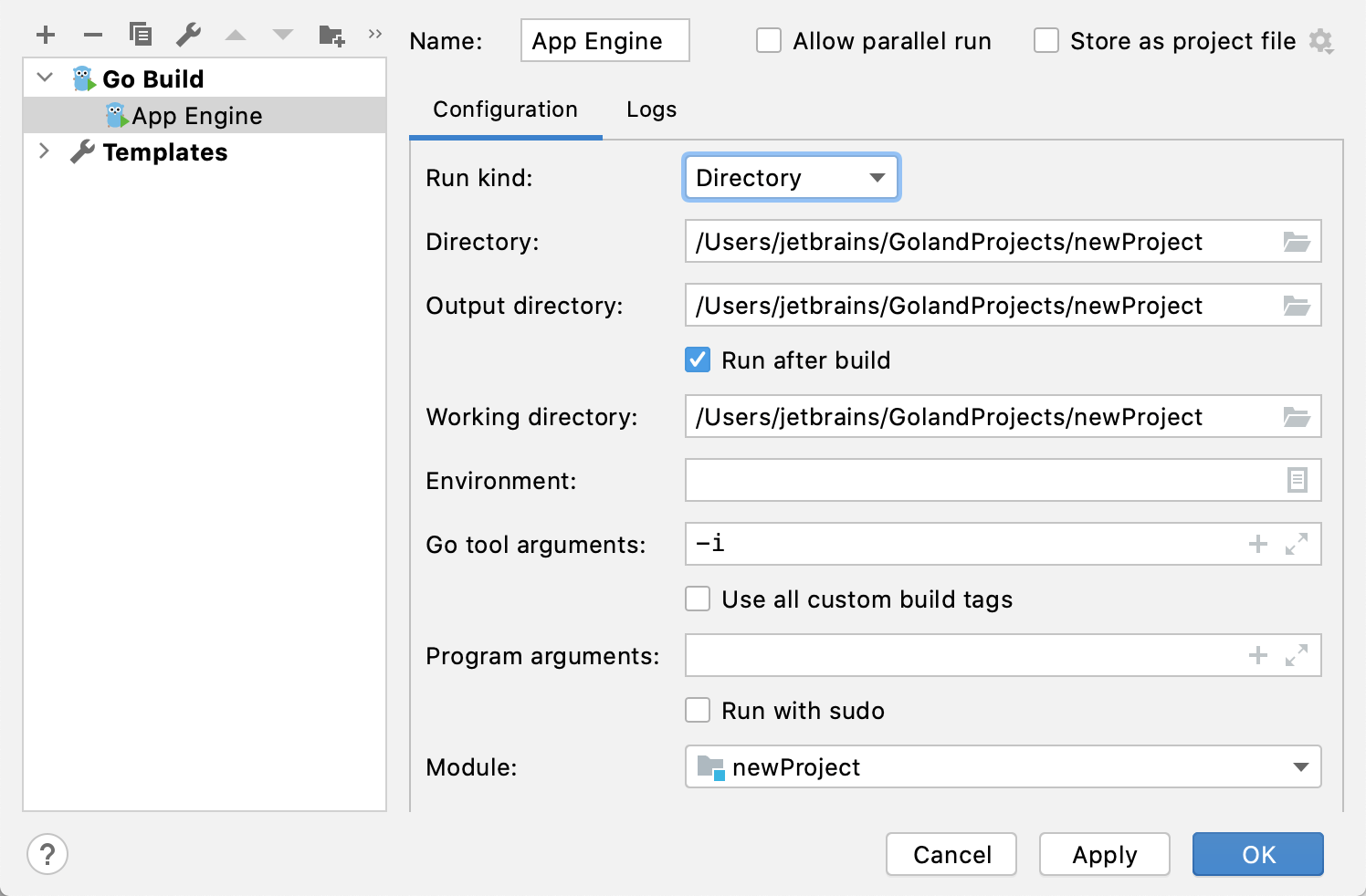 Run Debug Configuration For App Engine