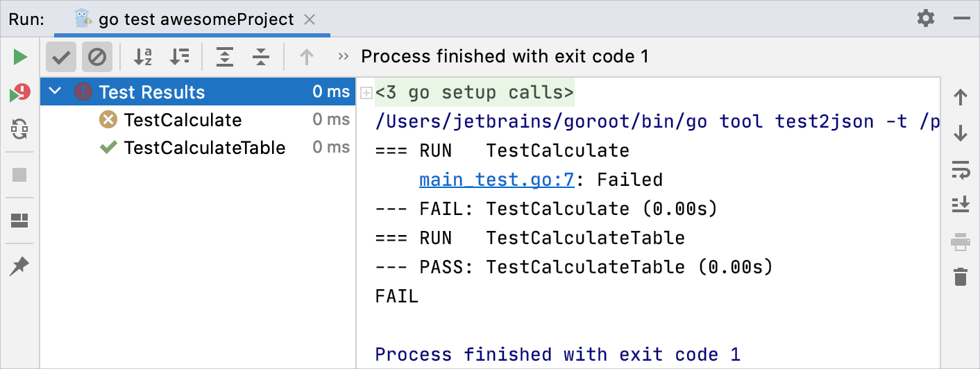 Running all tests in a folder, stopping, and rerunning a single test