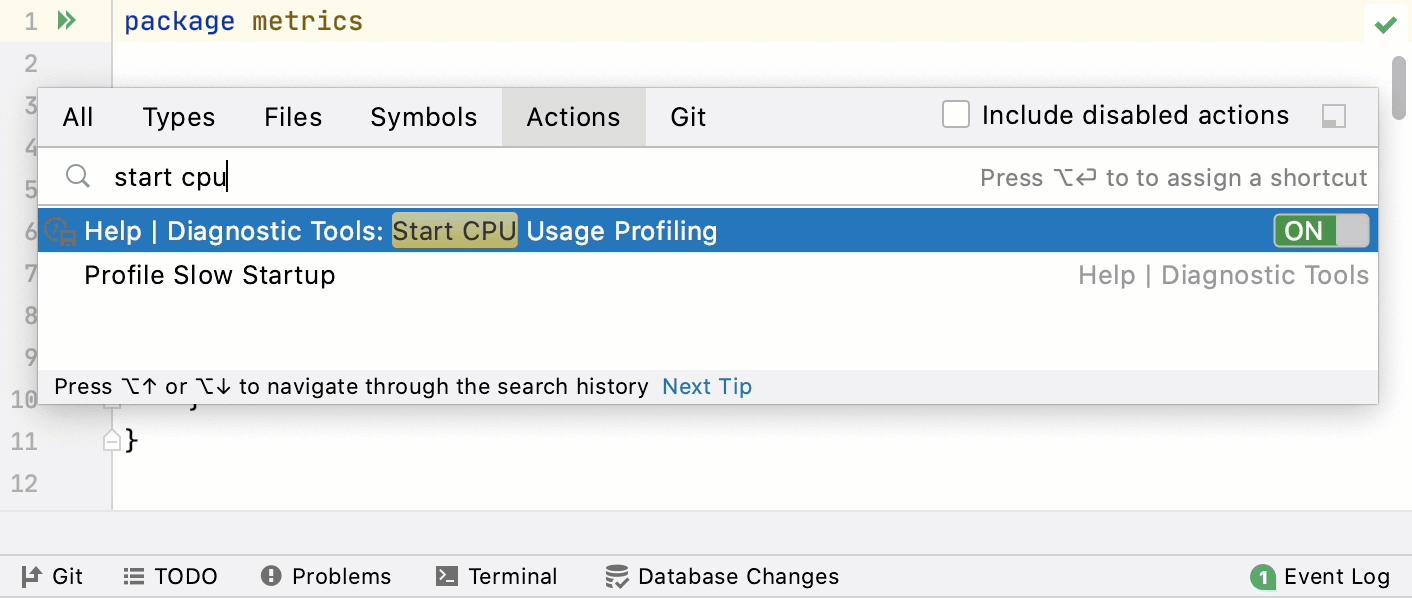 Start CPU usage profiling