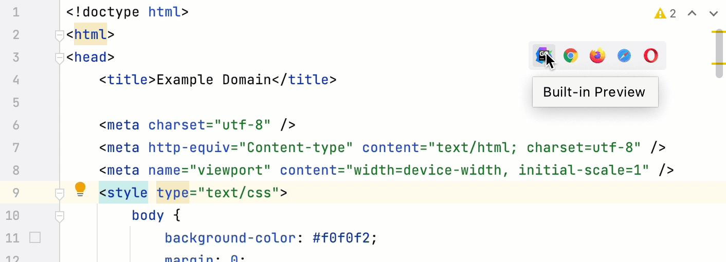 the built-in         HTML preview