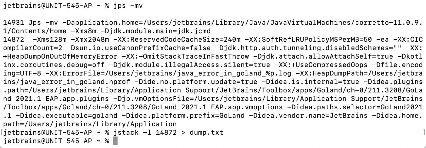 Using jstack