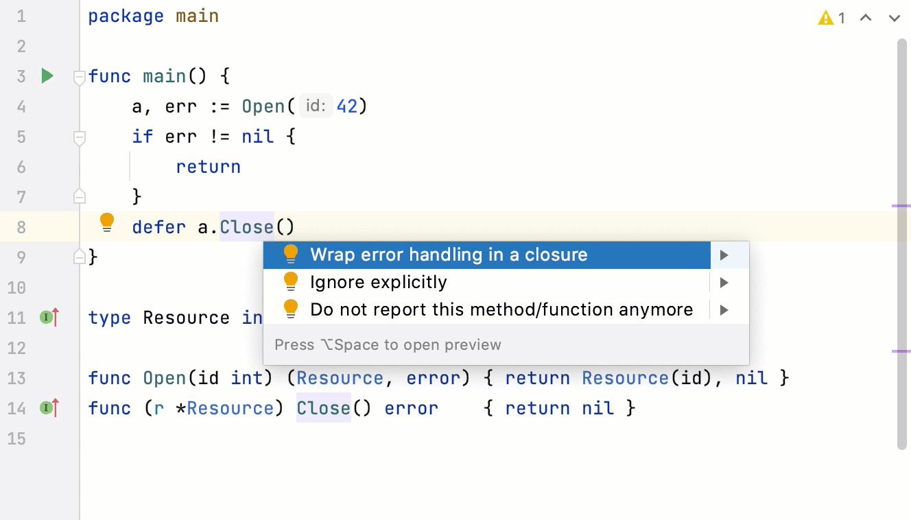wrap an error handling in a closure