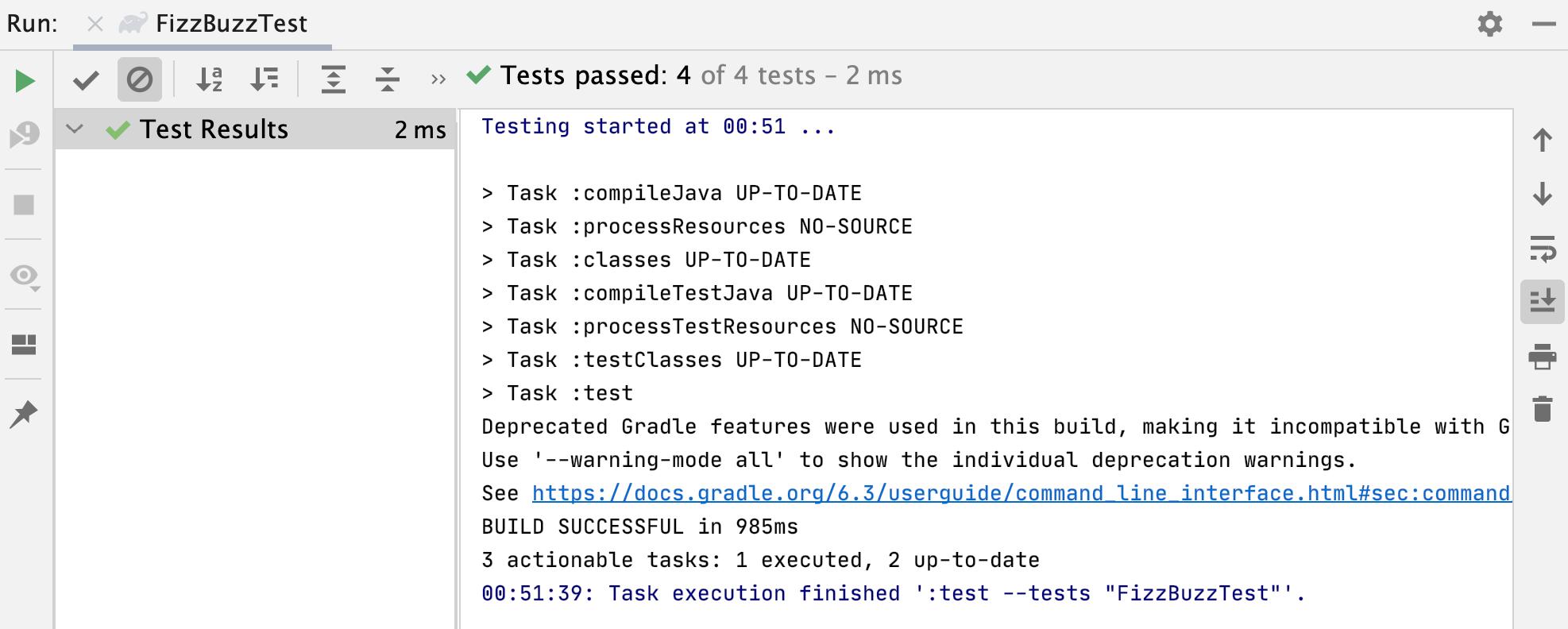 Run tool window /test passed