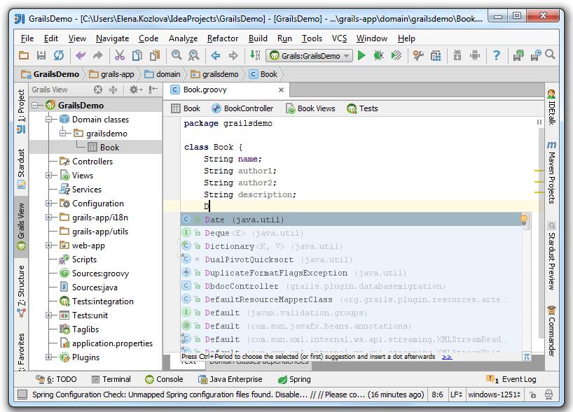 Grails domain class editor