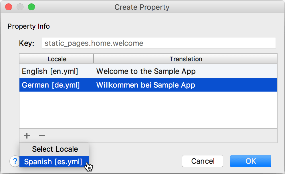 create property dialog