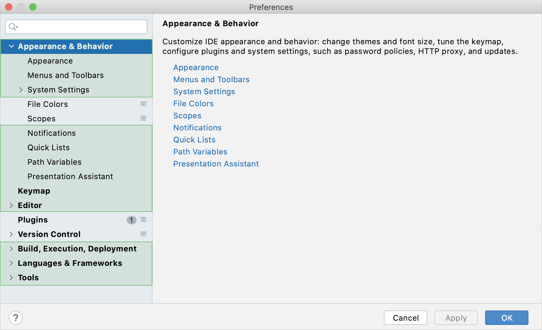 Global settings marked in the Settings/Preferences dialog