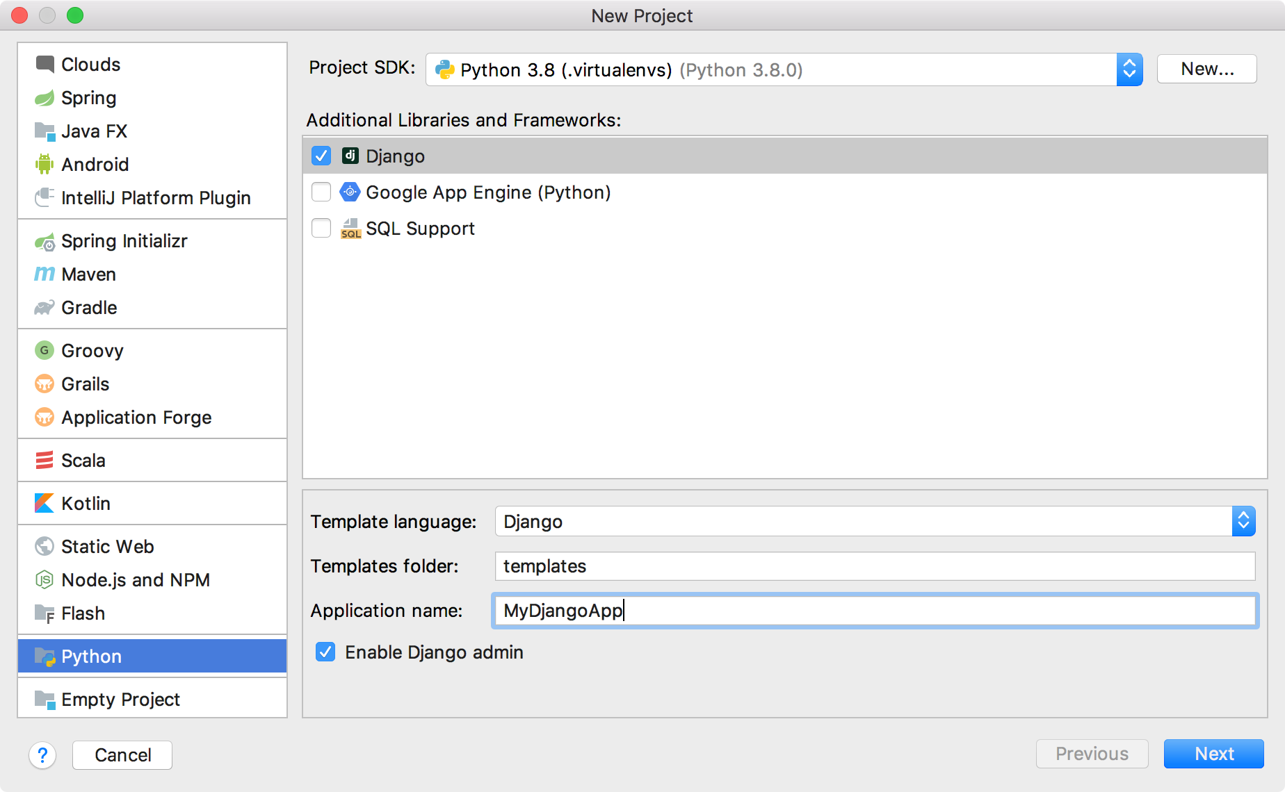 Create a Django project: select an SDK