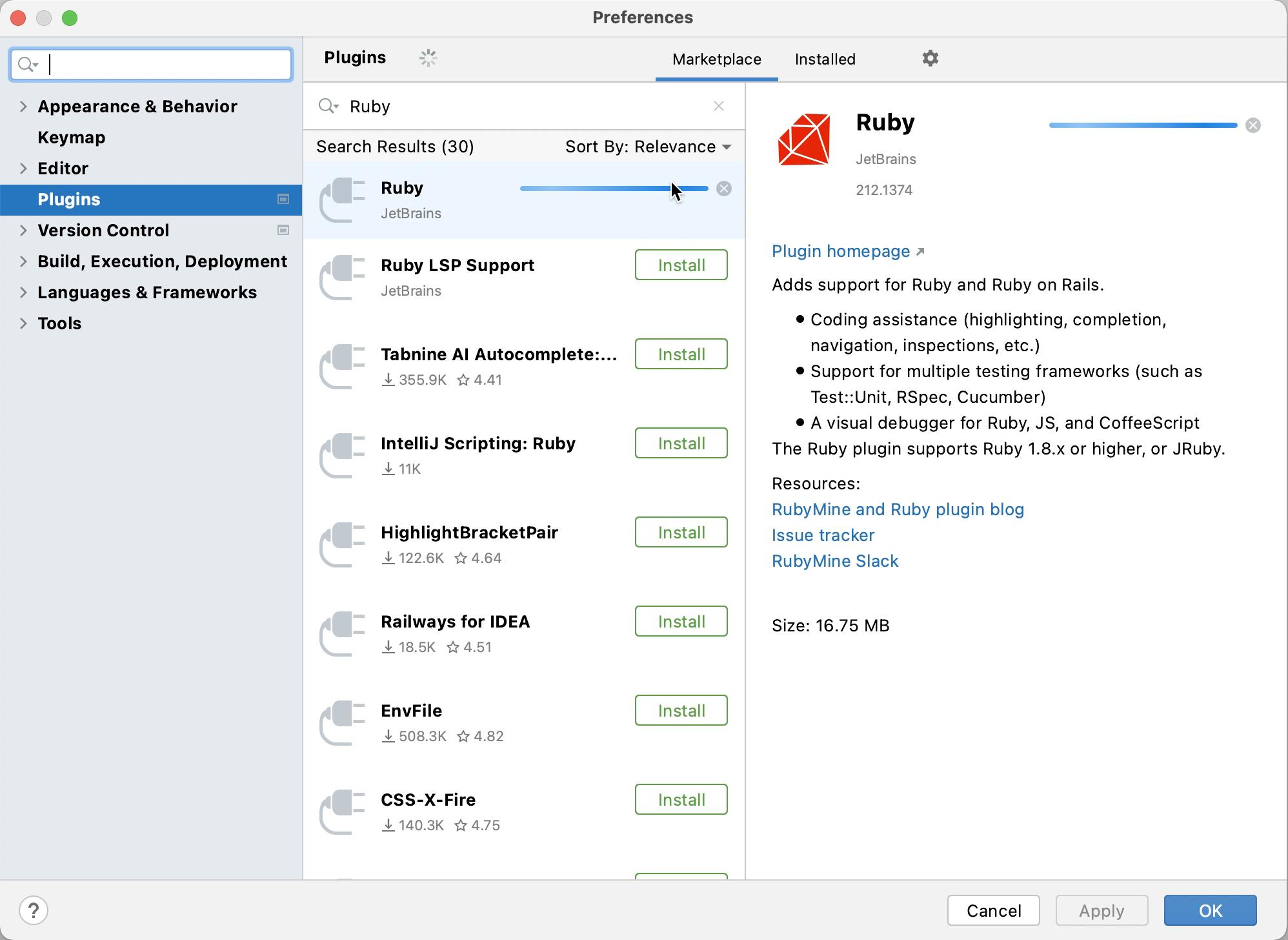 Install Ruby plugin