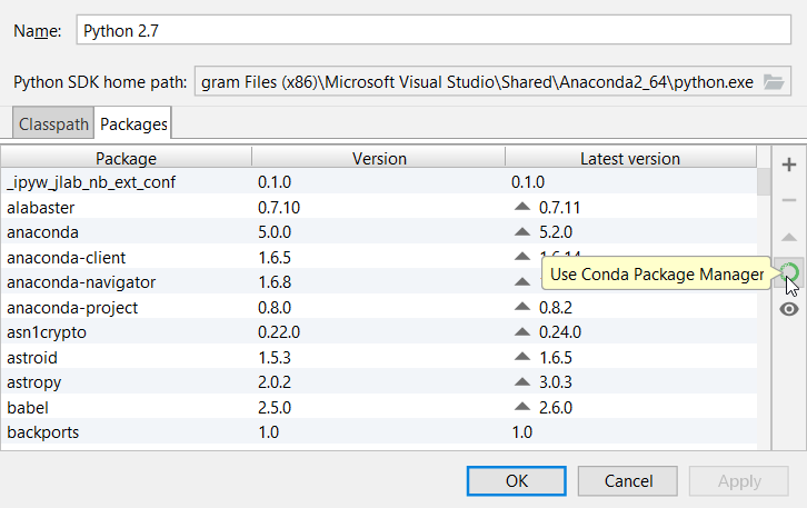 Using the Conda package manager