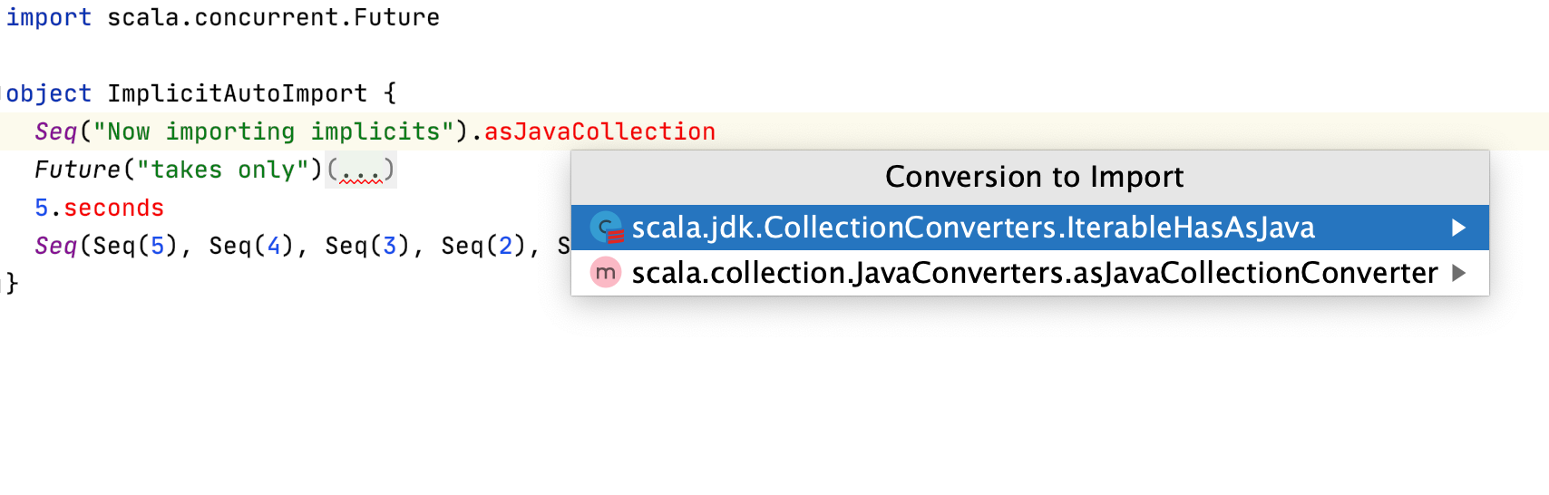 Intention action for the implicit conversions auto-import