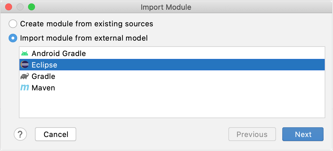 Importing a project from Eclipse as a module