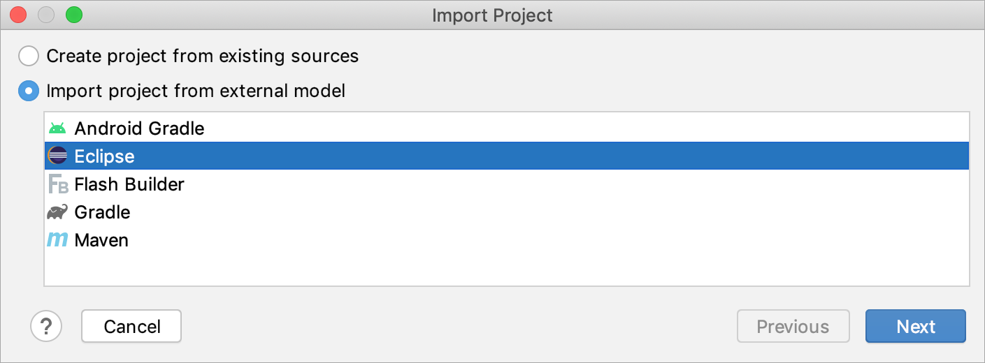 Importing a project from Eclipse