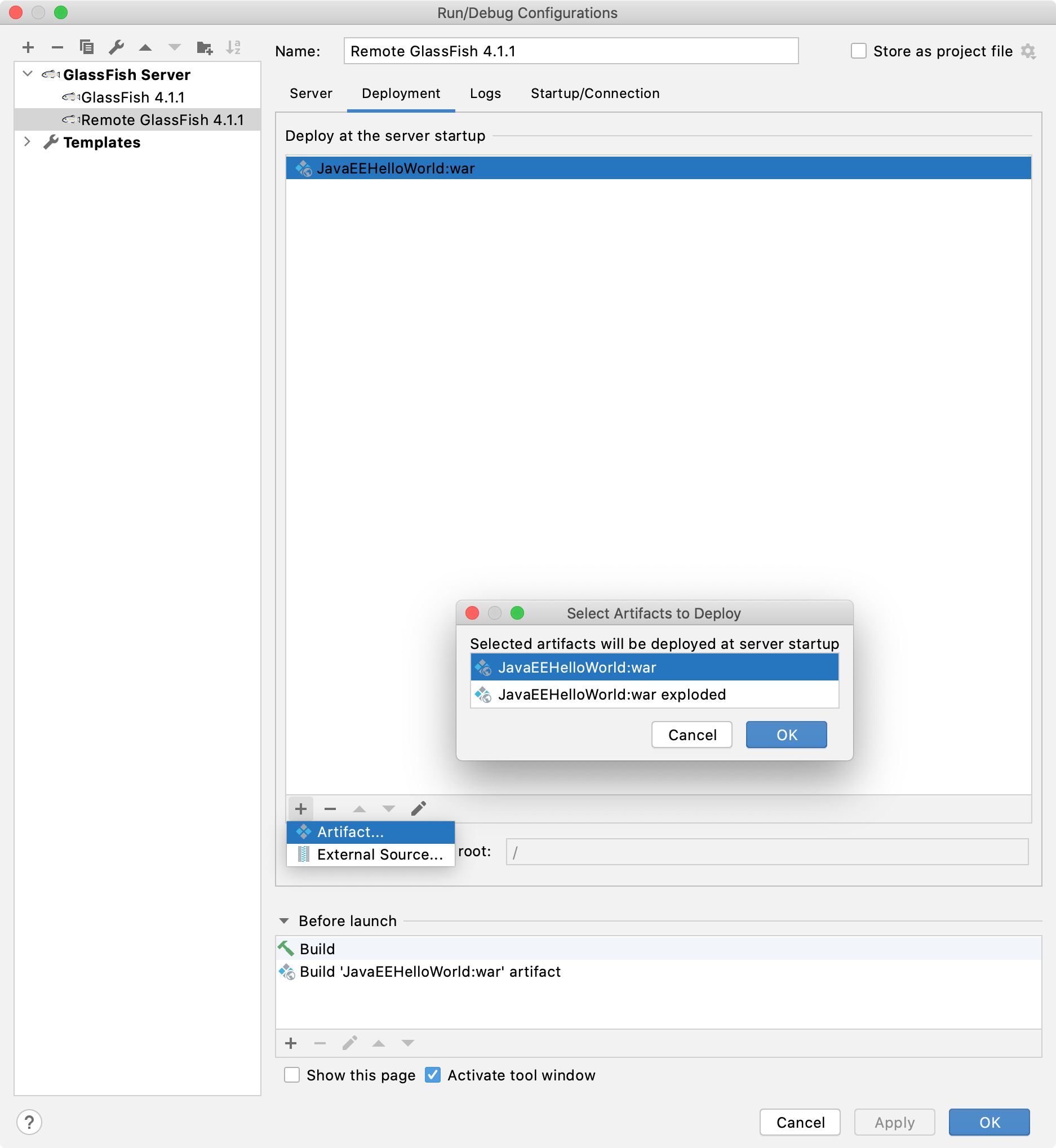 Remote GlassFish run configuration artifacts to deploy