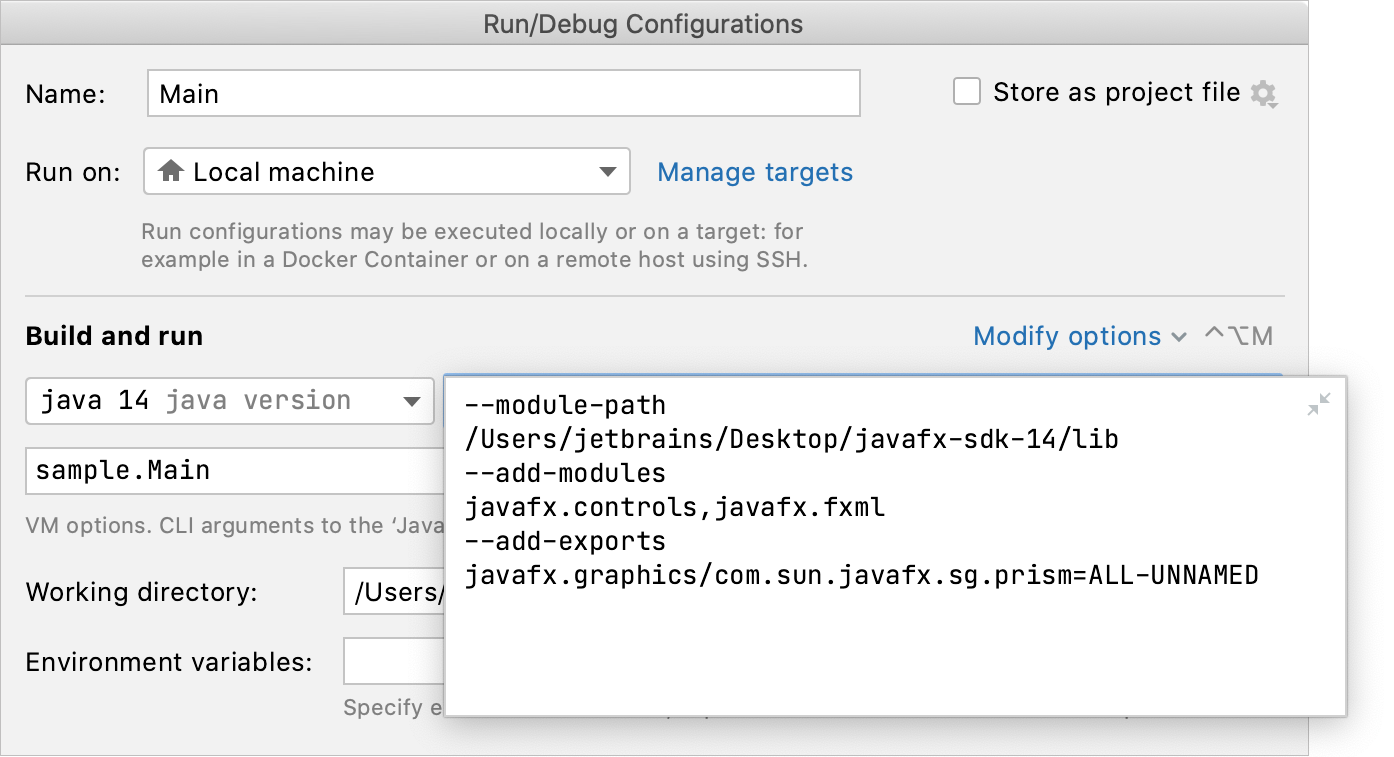 Specifying VM options for JavaFX
