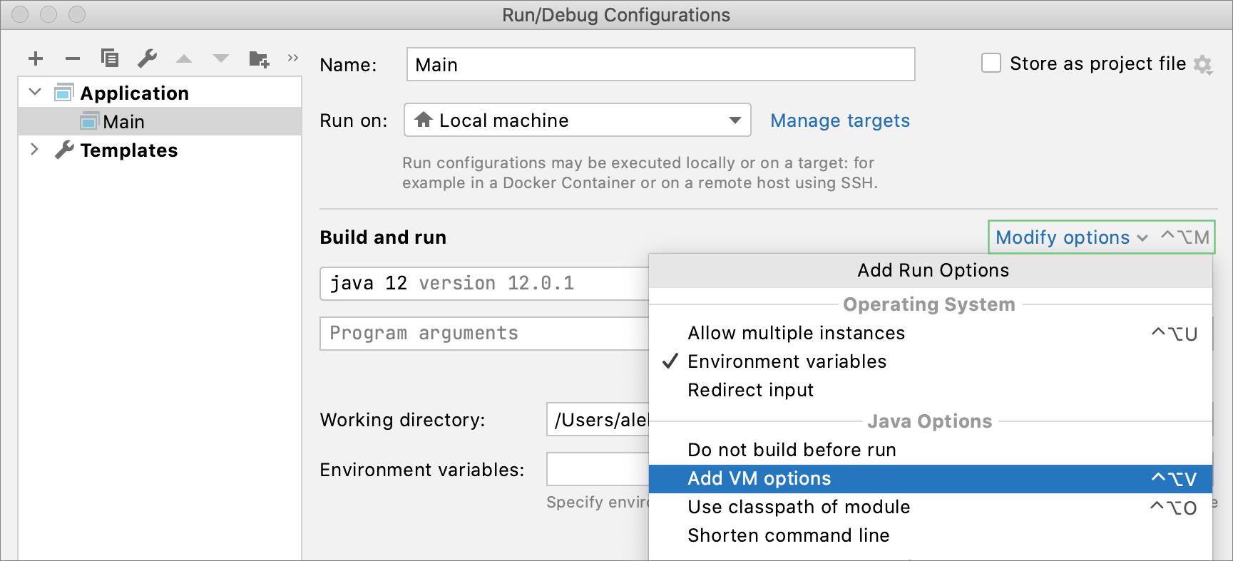 Adding the VM options field