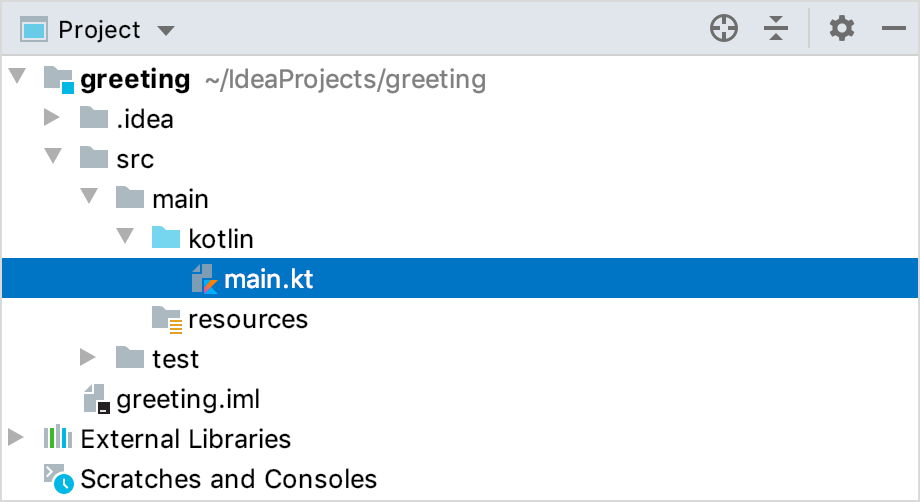 src/main/kotlin/main.kt in the Project tool window