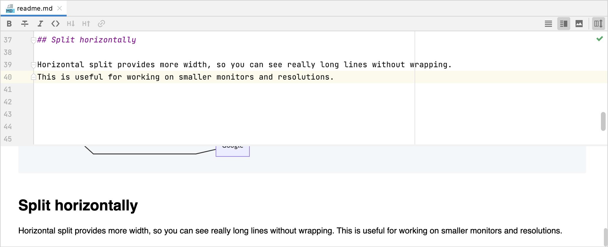 Markdown editor and live preview pane split horizontally
