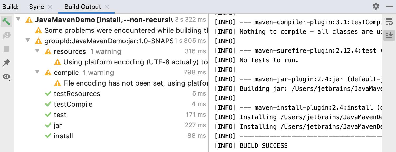 Maven build output