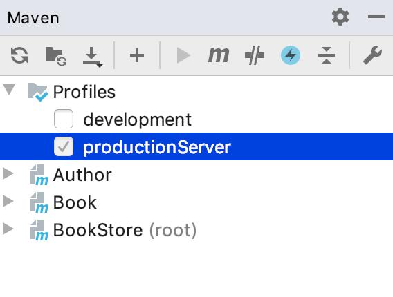 the Maven tool window: selected profile