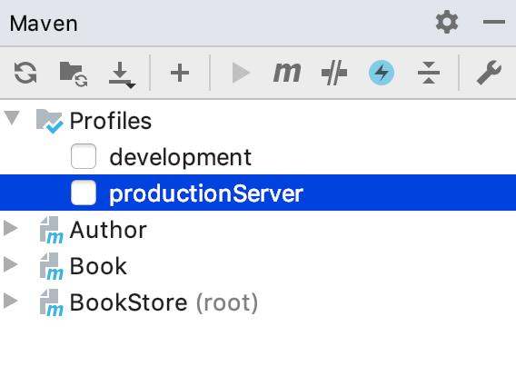 the Maven tool window: deactivate profile