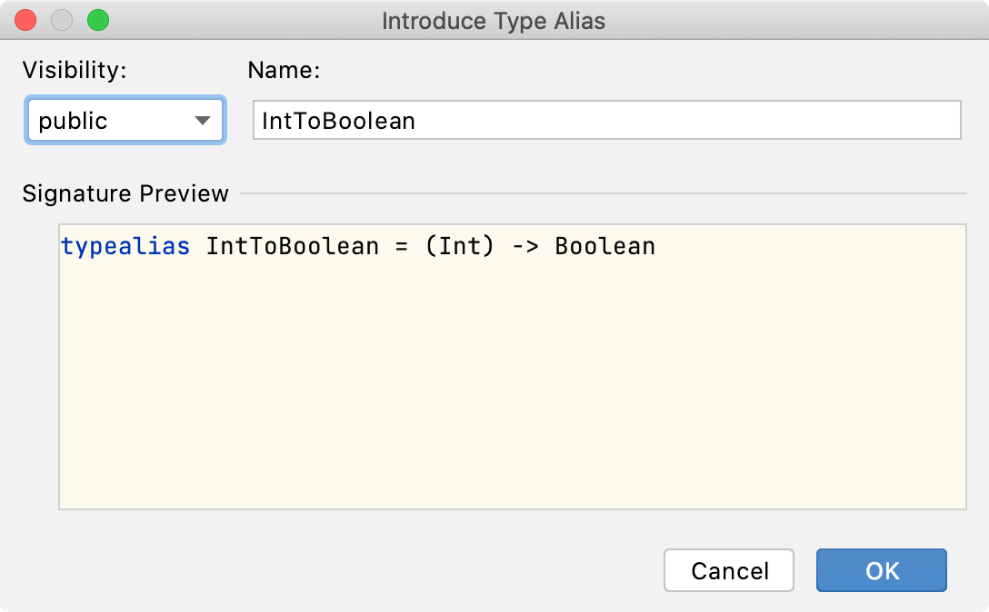 the Introduce Type Alias dialog