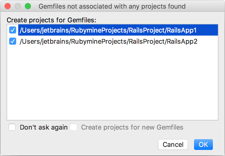 gemfiles without projects