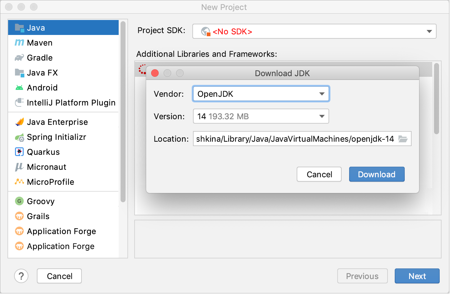 Downloading a JDK for the new project