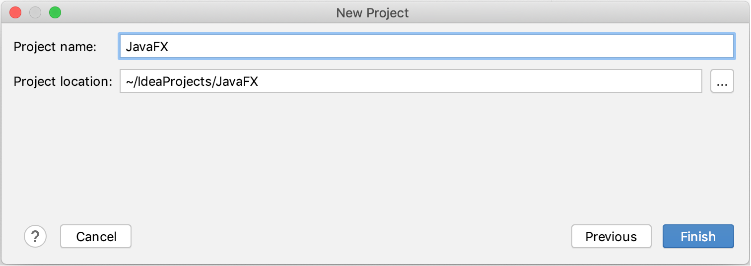 Creating a new JavaFX project