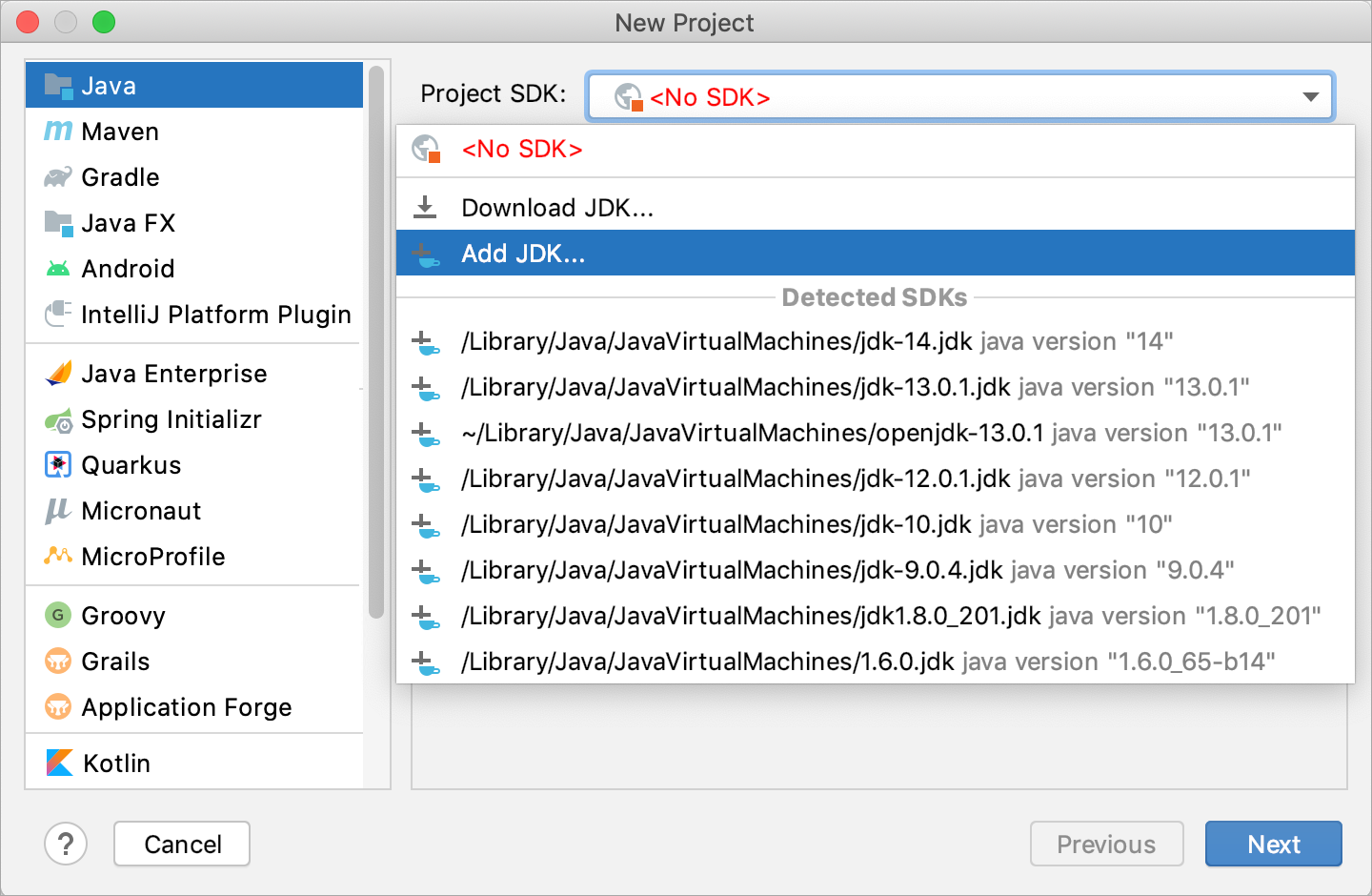 Configuring an SDK for the new project