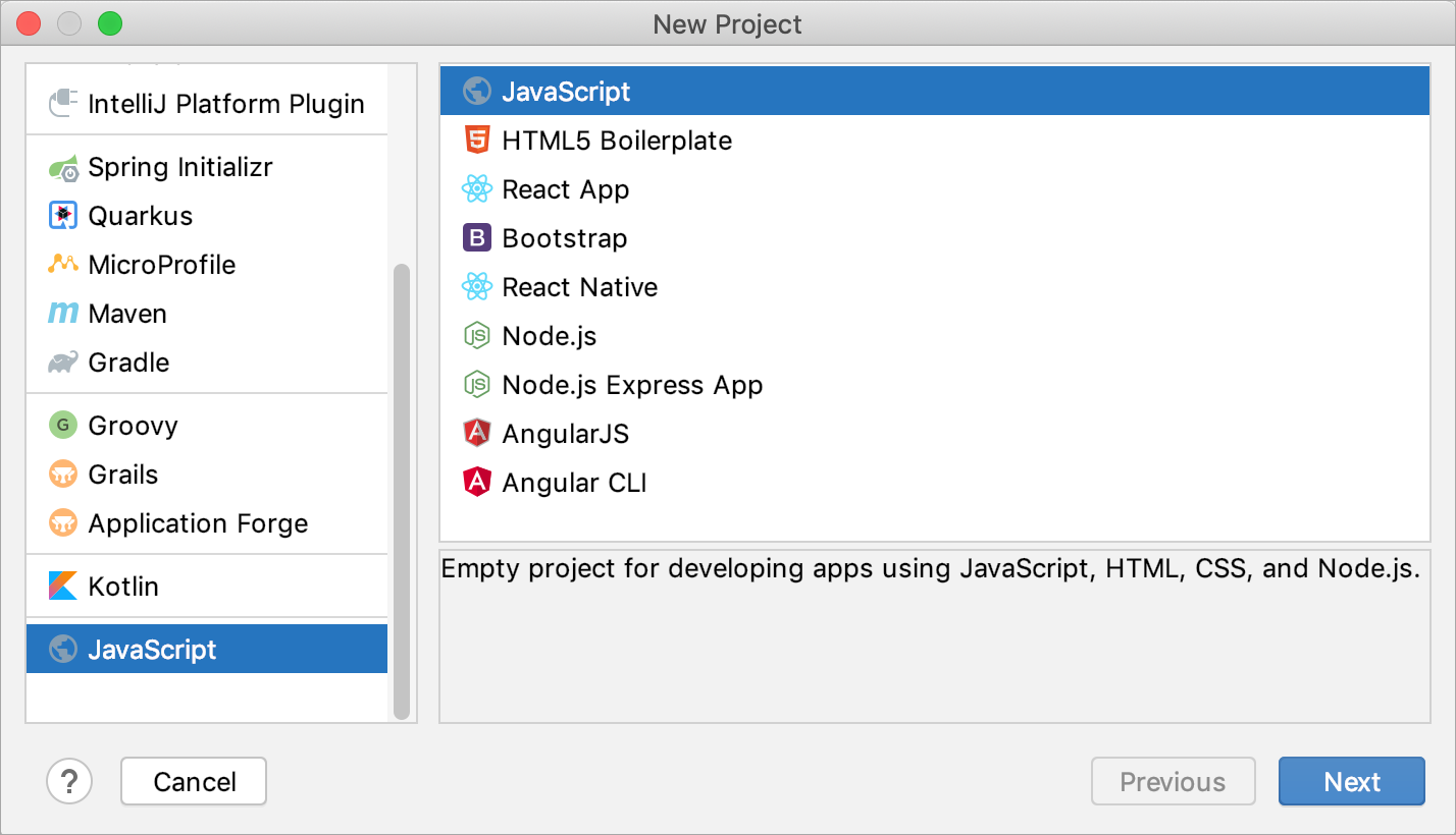 Creating a new JavaScript project