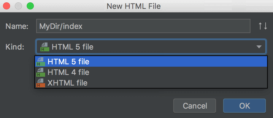 Creating an HTML file according to the HTML5 template