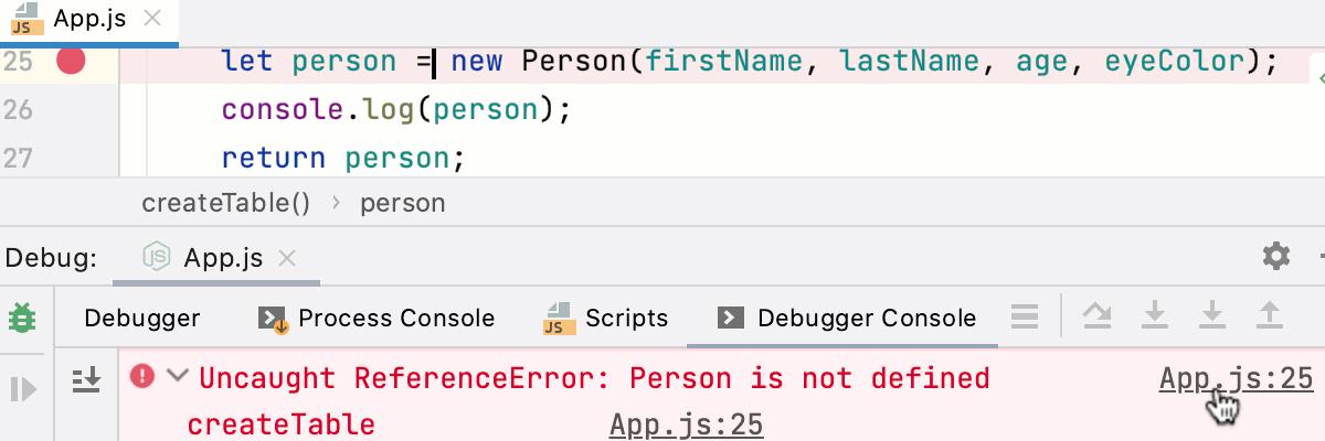 Node.js interactive debugger console: navigation to errors