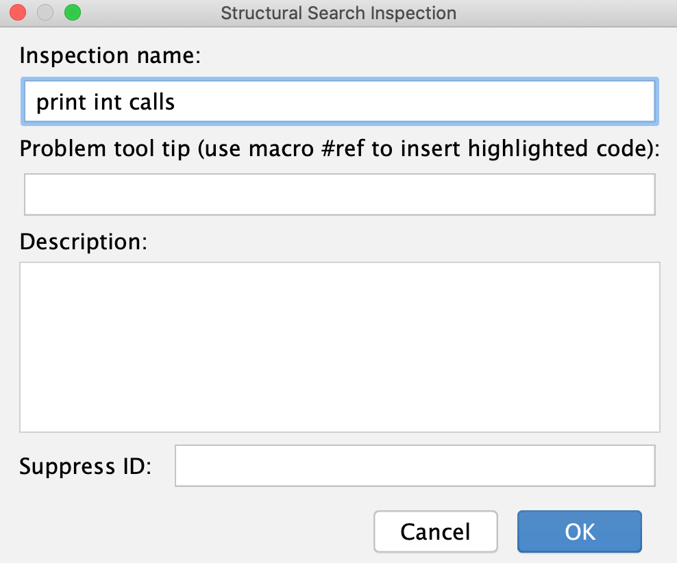 Inspection name