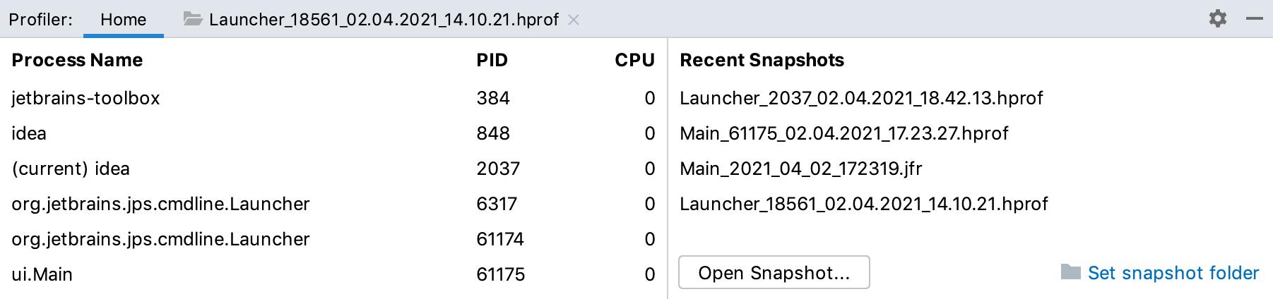Profiler tool window