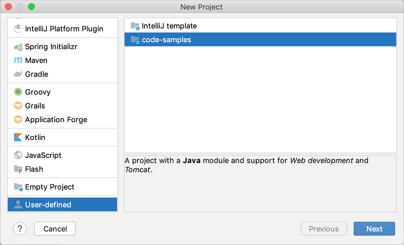 Creating a project from a custom template
