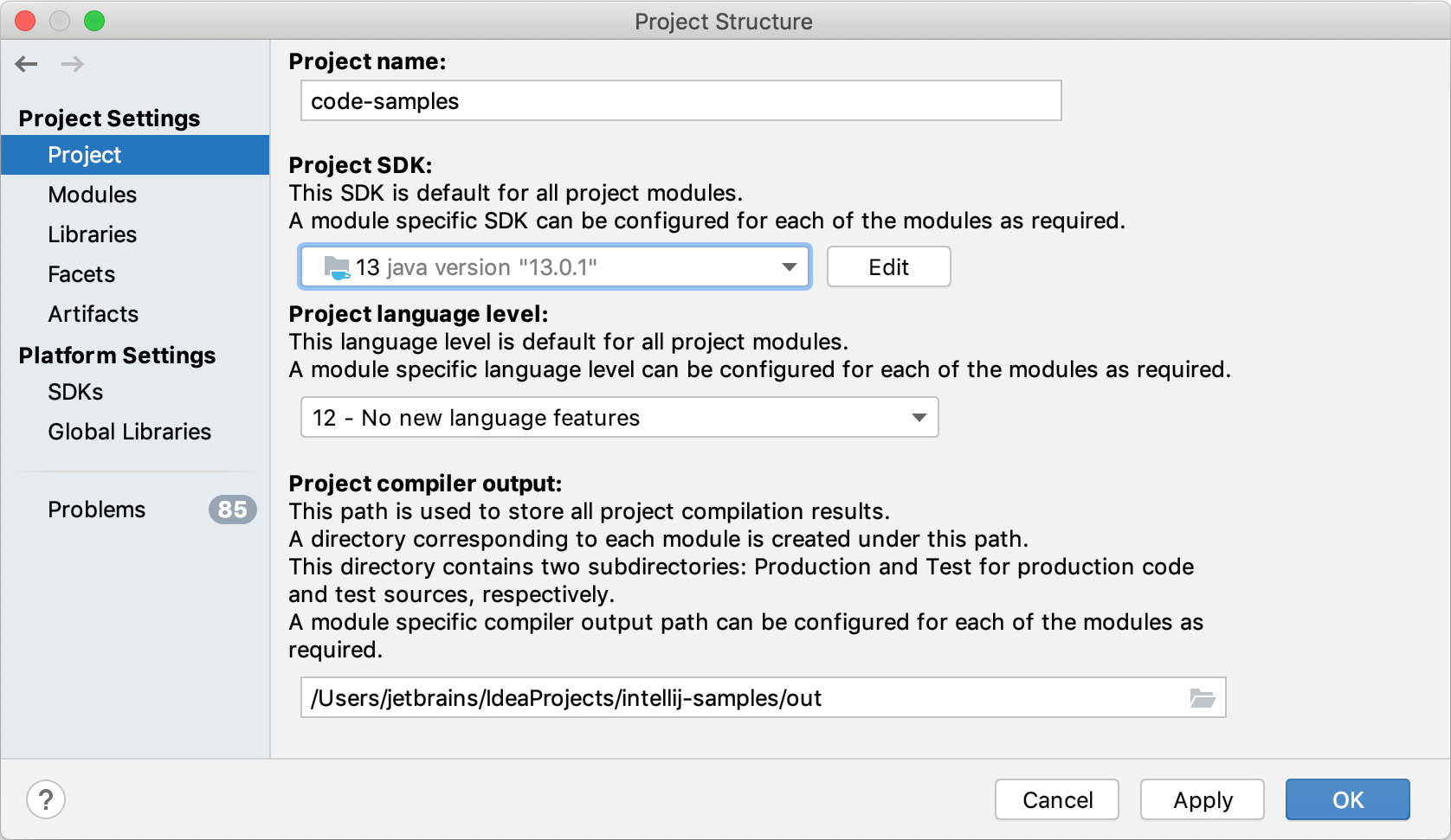 Project page of the Project Structure dialog