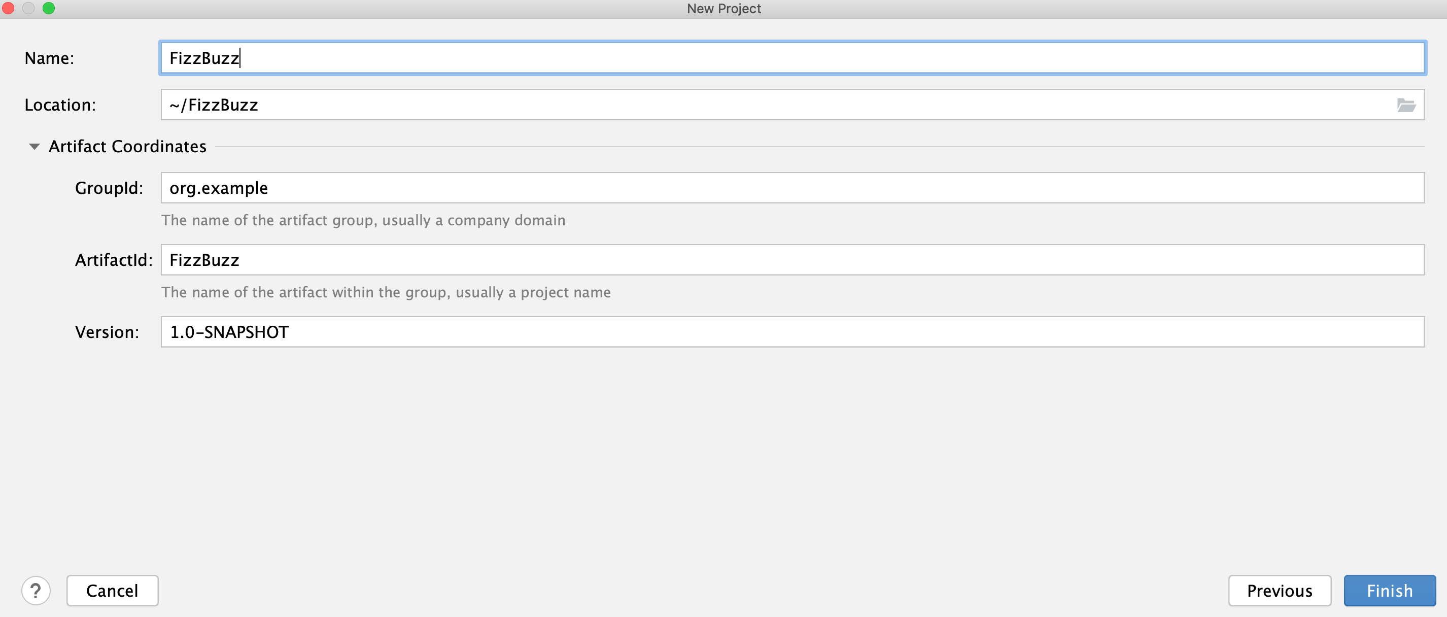 New Project wizard Gradle page