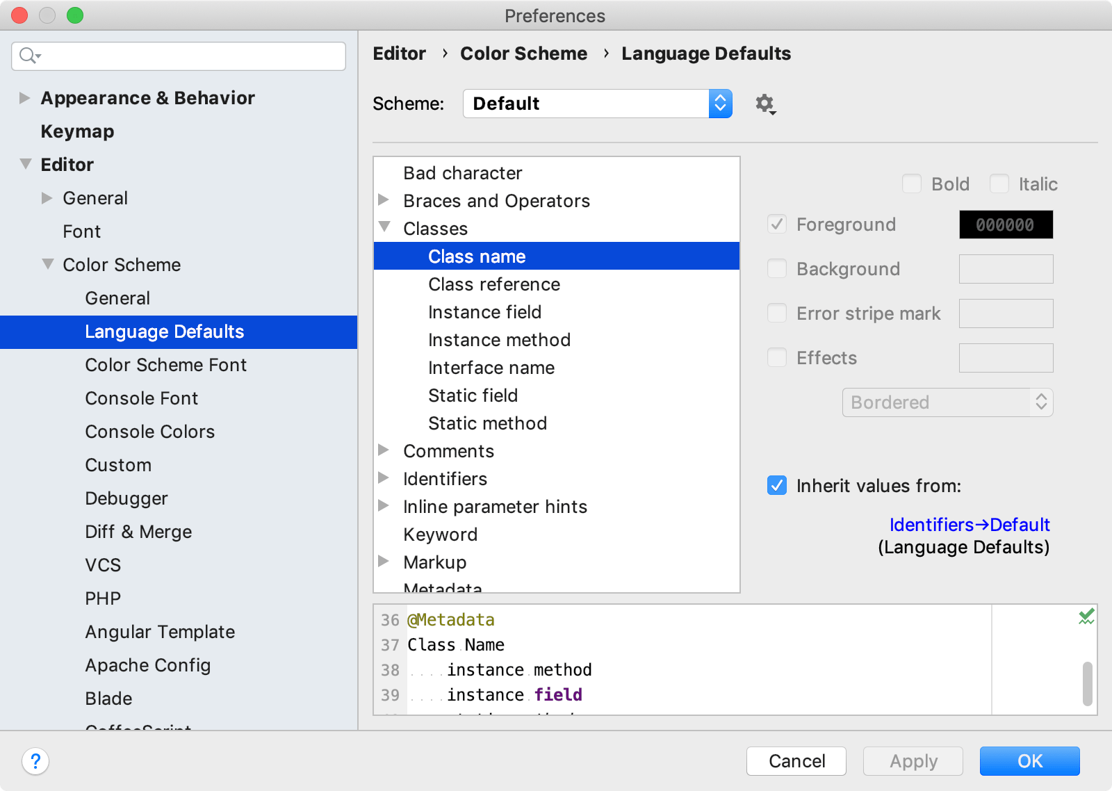 Language Defaults section under Color Scheme settings
