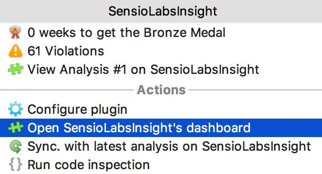 Open SensioLabsInsight dashboard