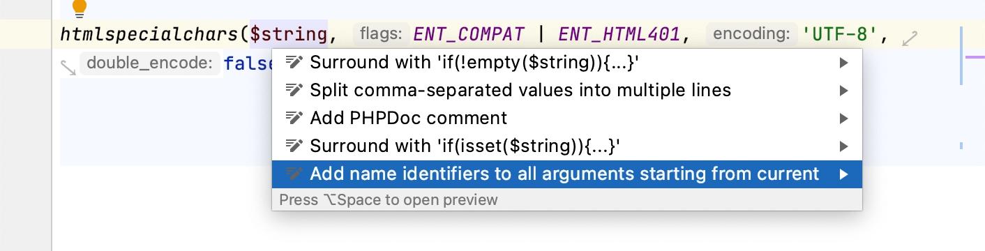 Adding named arguments
