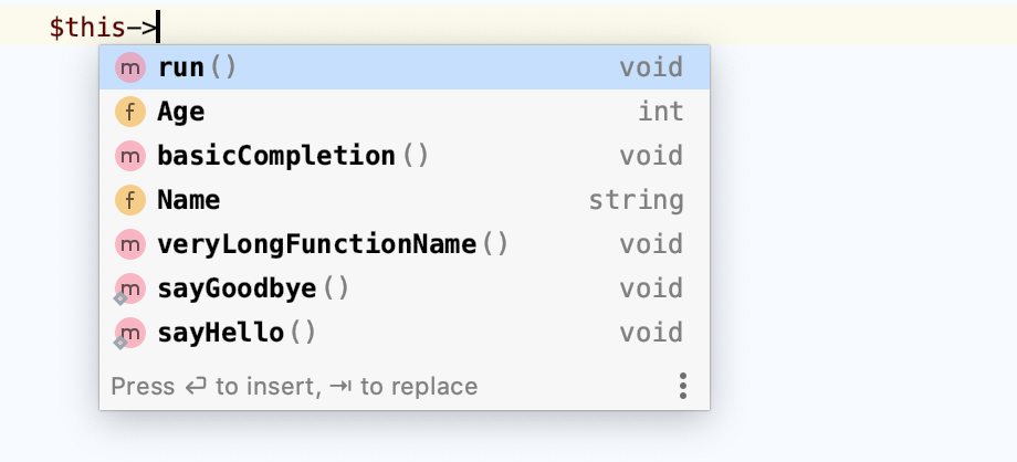 Basic Code Completion Static Methods