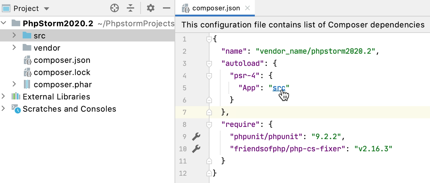 Code navigation in composer.json