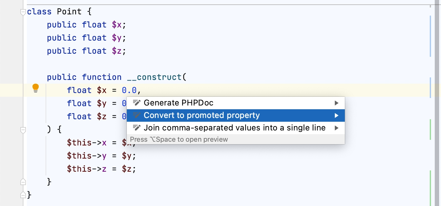 Converting constructor arguments to promoted properties